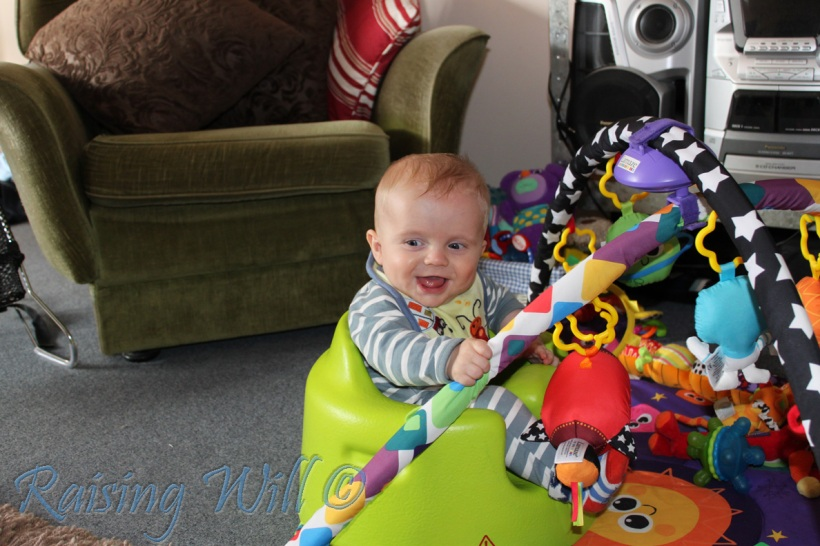 Playing in the Bumbo Chair