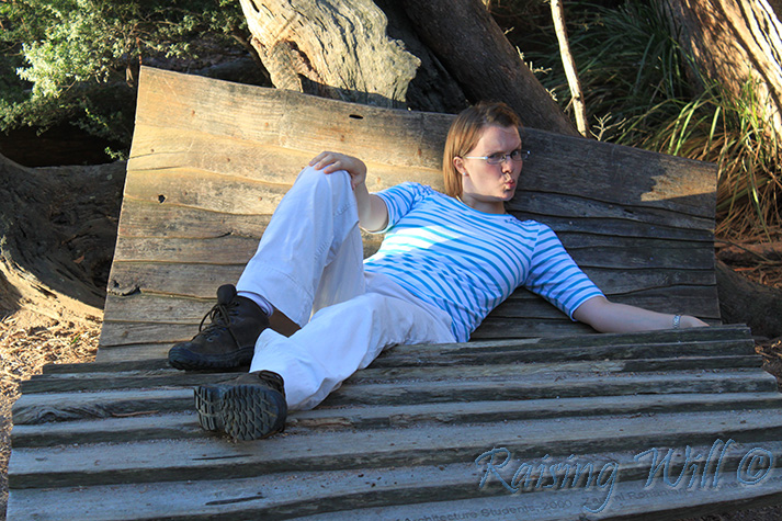 The sculptural bench at the lookout to Wineglass Bay. I have no explanation for my antics...